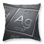 Silver Chemical Element Throw Pillow