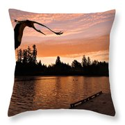 Silver Lake Sunset Throw Pillow
