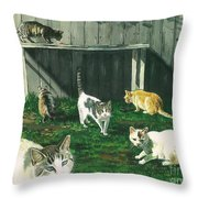 Six Cats Throw Pillow