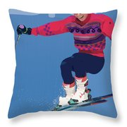 Ski 3 Throw Pillow