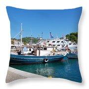 Skiathos Town Harbour Throw Pillow