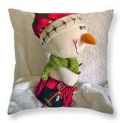 Skiing Snowman Throw Pillow