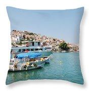 Skopelos Harbour Greece Throw Pillow