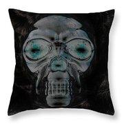 Skull In Negative Throw Pillow