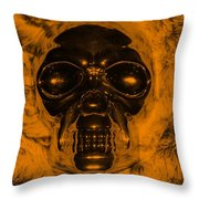 Skull In Orange Throw Pillow