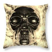 Skull In Sepia Throw Pillow