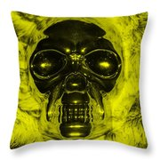 Skull In Yellow Throw Pillow