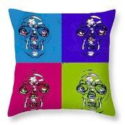 Skulls In Quad Colors Throw Pillow