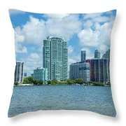 Skylines At The Waterfront, Miami Throw Pillow