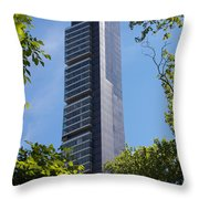 Skyscraper Rising Among Trees Of Madison Square Park Throw Pillow