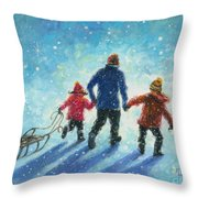 Sledding With Dad Throw Pillow
