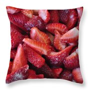 Sliced Strawberries Throw Pillow