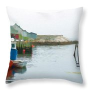 Boats In Peggy's Cove Throw Pillow