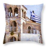 Small Greek Church Throw Pillow