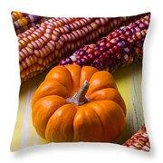 Small Pumpkin And Indian Corn Throw Pillow
