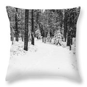 Small Road In A Snowy Forest Throw Pillow