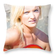 Smiling Female Guitarist Throw Pillow