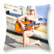 Smiling Girl Strumming Guitar At Tropical Beach Throw Pillow