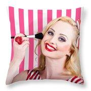 Smiling Makeup Girl Using Cosmetic Powder Brush Throw Pillow