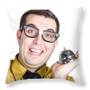 Smiling Man With Bell Throw Pillow