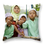 Smiling Muslim Children In Bali Indonesia Throw Pillow