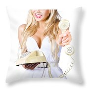 Smiling Woman With Retro Telephone Throw Pillow