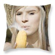 Smoking Hot Corn Cob Woman Throw Pillow