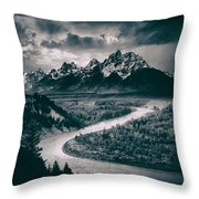 Snake River In The Tetons - 1930s Throw Pillow