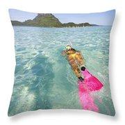 Snorkeling In Polynesia Throw Pillow