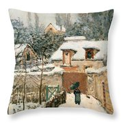 Snow At Louveciennes  Throw Pillow