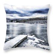 Snow Big Ditch Lake Throw Pillow