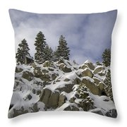Snow Covered Cliffs And Trees Throw Pillow