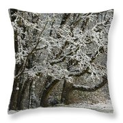 Snow On Trees Throw Pillow