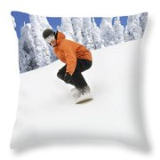 Snowboarder Going Down Snowy Hill Throw Pillow