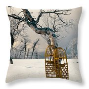 Snowshoes Leaning Against Birch Tree Snowscape Throw Pillow