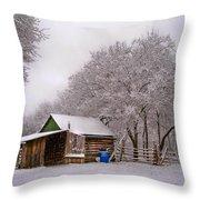 Snowy Day On The Farm Throw Pillow