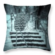 Snowy Stairway Throw Pillow