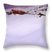 Soft Snow At Sunset Throw Pillow