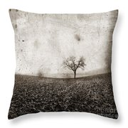 Solitary Tree In Limagne Landscape. Auvergne. France Throw Pillow
