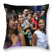 Some Young Ladies Enjoying The 2009 Cleansing Of 46th Street Throw Pillow