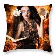 Sorcerer Casting Black Magic Spells Of Fire Throw Pillow