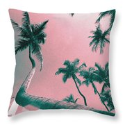 South Beach Miami Tropical Art Deco Wide Palms Throw Pillow