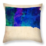 South Carolina Watercolor Map Throw Pillow by Naxart Studio
