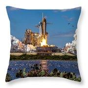 Space Shuttle Atlantis Launch Throw Pillow