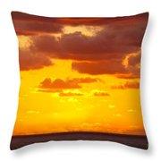 Spectacular Dramatic Orange Sunset Over The Ocean Throw Pillow