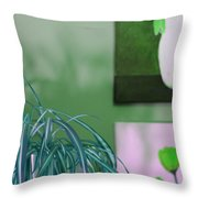 Spider Plant - Green Tulips - Still Life Throw Pillow