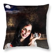 Spooky Girl With Silver Service Bell In Graveyard Throw Pillow