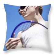 Sporting A Racquet Throw Pillow