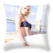 Sports Person Carrying Surf Board Outdoors Throw Pillow