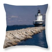 Spring Point Ledge Lighthouse Throw Pillow